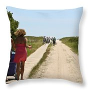 Breezy Point Beach Walk Throw Pillow