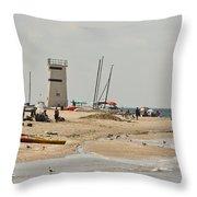 Breezy Point Lighthouse Bayside Throw Pillow