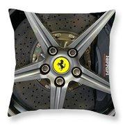 Brembo Carbon Ceramic Brake On A Ferrari F12 Berlinetta Throw Pillow