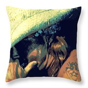 Bret Michaels With Harmonica Throw Pillow by Michelle Frizzell-Thompson