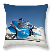 Brett De Stoop On His Suzuki Gt 750 At Speed Throw Pillow