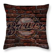 Brewers Baseball Graffiti On Brick  Throw Pillow
