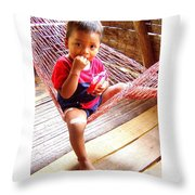 Bribri Indian Child In A Hammock Throw Pillow