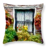Brick And Blooms Throw Pillow