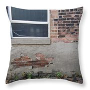 Brick Broken Plaster And Window Throw Pillow