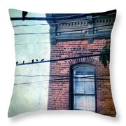 Brick Building Birds On Wires Throw Pillow