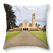 Brick Path To Mt Angel Abbey Church Entrance Throw Pillow