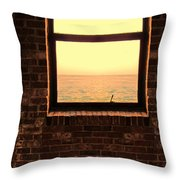 Brick Window Sea View Throw Pillow