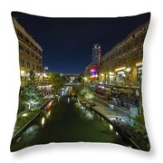 Bricktown Canal Vertical Throw Pillow