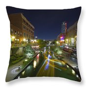 Bricktown Canal Water Taxi Throw Pillow