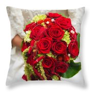 Bridal Bouquet With Red Roses Throw Pillow