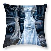 Bridal Dress Window Display In Ottawa Ontario Throw Pillow