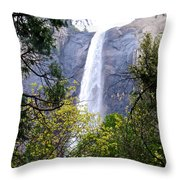 Bridal Veil Falls In Yosemite Valley In Spring- 2013 Throw Pillow