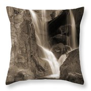 Bridalveil Falls In Yosemite Sepia Version Throw Pillow