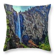 Bridalveil Falls In Yosemite Valley Throw Pillow
