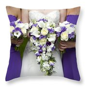 Bride And Bridesmaids With Wedding Bouquets Throw Pillow