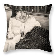 Bride And Daughter Kiss In Jackson Square New Orleans Throw Pillow