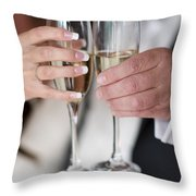Bride And Groom Champagne Toast Throw Pillow