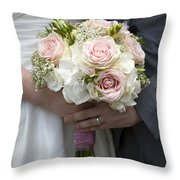 Bride And Groom Hold Wedding Bouquet Throw Pillow