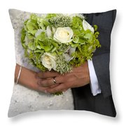 Bride And Groom With Wedding Bouquet Throw Pillow