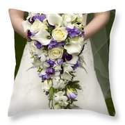 Bride And Wedding Bouquet Throw Pillow