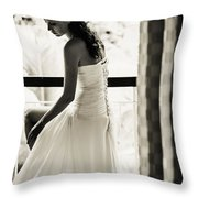 Bride At The Balcony II. Black And White Throw Pillow by Jenny Rainbow