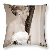 Bride Awaits Her Groom Throw Pillow