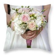 Bride Holding A Bouquet Of Wedding Flowers Throw Pillow