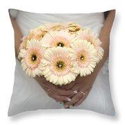 Bride Holding Gerbera Bouquet Throw Pillow