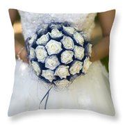 Bride With Flowers Throw Pillow
