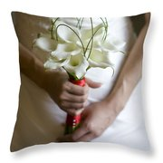 Bride With Lily Bouquet Throw Pillow