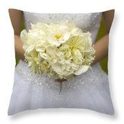 Bride With Wedding Bouquet Throw Pillow