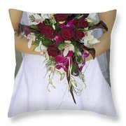 Brides Bouquet And Wedding Dress Throw Pillow