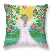 Bride's Tree Pink Throw Pillow