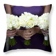 Bridesmaids With Flowers Throw Pillow