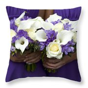 Bridesmaids With Wedding Bouquets Throw Pillow