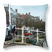 Bridge Across Canal - Amsterdam Throw Pillow