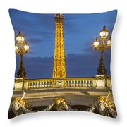 Bridge And Eiffel Throw Pillow