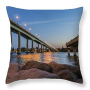 Bridge And Fishing Pier Throw Pillow