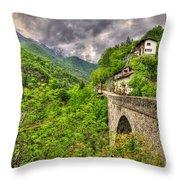 Bridge And Mountain Throw Pillow