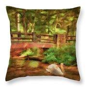 Bridge And Swan Throw Pillow