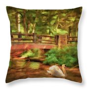 Bridge And Swan Throw Pillow