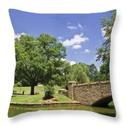 Bridge At A Park In The Summer Throw Pillow