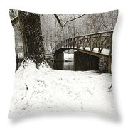 Bridge At Old Mine Park Throw Pillow
