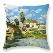 Bridge At Villeneuve-la-garenne Throw Pillow by Alfred Sisley