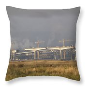 Bridge Building Throw Pillow by Bill Gallagher
