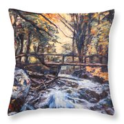 Morning Bridge In Woods Throw Pillow