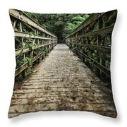 Bridge Leading Into The Bamboo Jungle Throw Pillow