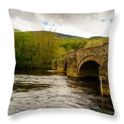 Bridge Near Cymer Abbey Throw Pillow