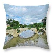Bridge Of Flowers Scene Throw Pillow